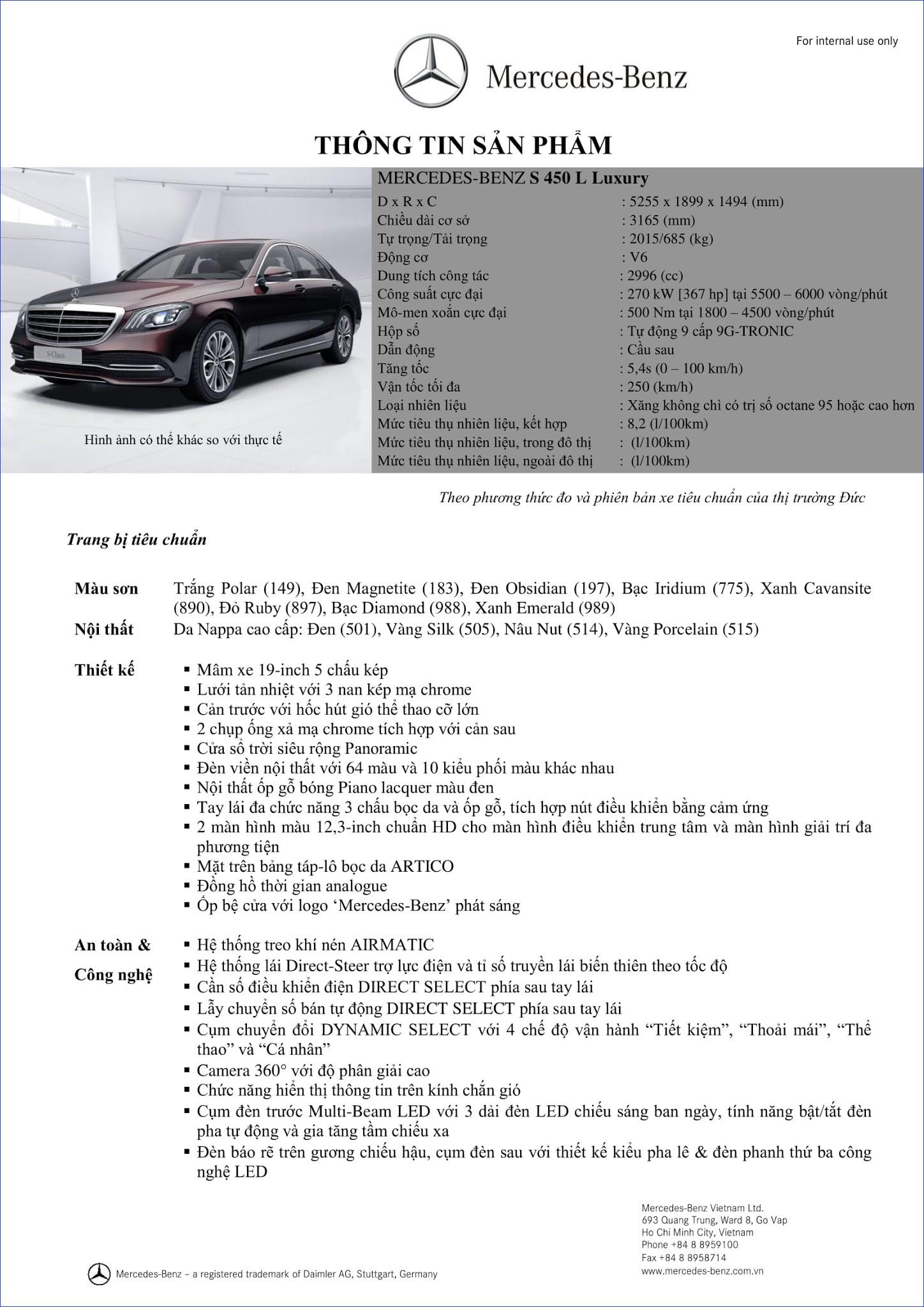 Bảng thông số kỹ thuật Mercedes S450 L Luxury 2018 tại Mercedes Trường Chinh