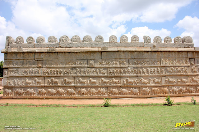 Relief sculptures on enclosure walls of Hazara Rama temple complex in Hampi, Ballari district, Karnataka, India