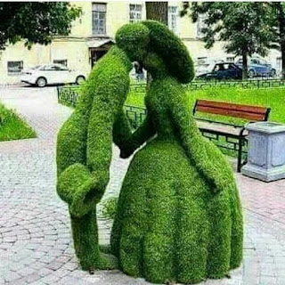Foto em um passeio de uma praça pavimentada com paralelepípedos quadrados, medianos, formando desenhos circulares. Em foco, dois arbustos aparados em forma humana. À esquerda, um homem, de fraque, segura junto ao corpo com a mão direita, uma cartola e com a outra, a mão de uma dama antiga, chapéu de aba redonda e larga, vestido longo em gomos. O casal, um em frente ao outro, tronco levemente inclinado, beijam-se. Ao fundo, à direita, um banco de madeira com estrutura preta de ferro, atrás, um canteiro cercado com grama alta, carros estacionados na via e do outro lado, a fachada de um prédio.