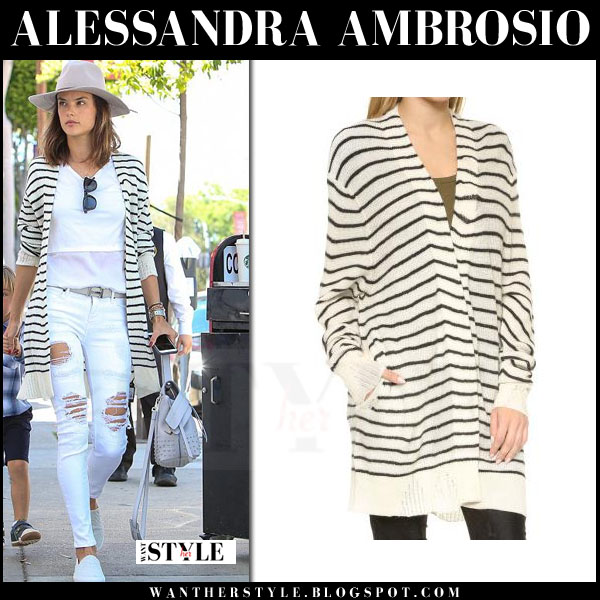 Alessandra Ambrosio in white striped long rta serge cardigan and ripped jeans what she wore model style