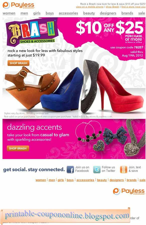 picture about Payless Shoes Printable Coupon titled Payless coupon retail outlet - Bob evans military services low cost