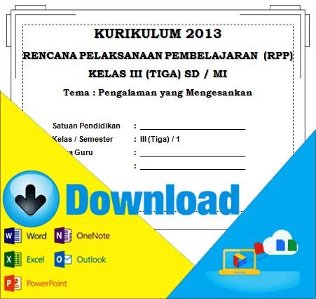 Download RPP Kurikulum 2013 SD Kelas 3 Tema Pengalaman Yang Mengesankan Semester 1