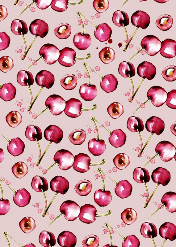 cecilia lundgren illustration cherries pattern