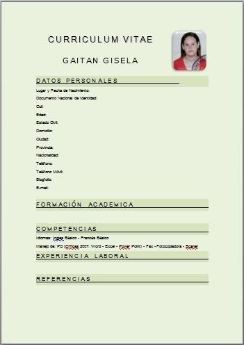 Modelo De Curriculum Vitae Basico Argentina Modelo De Curriculum Vitae