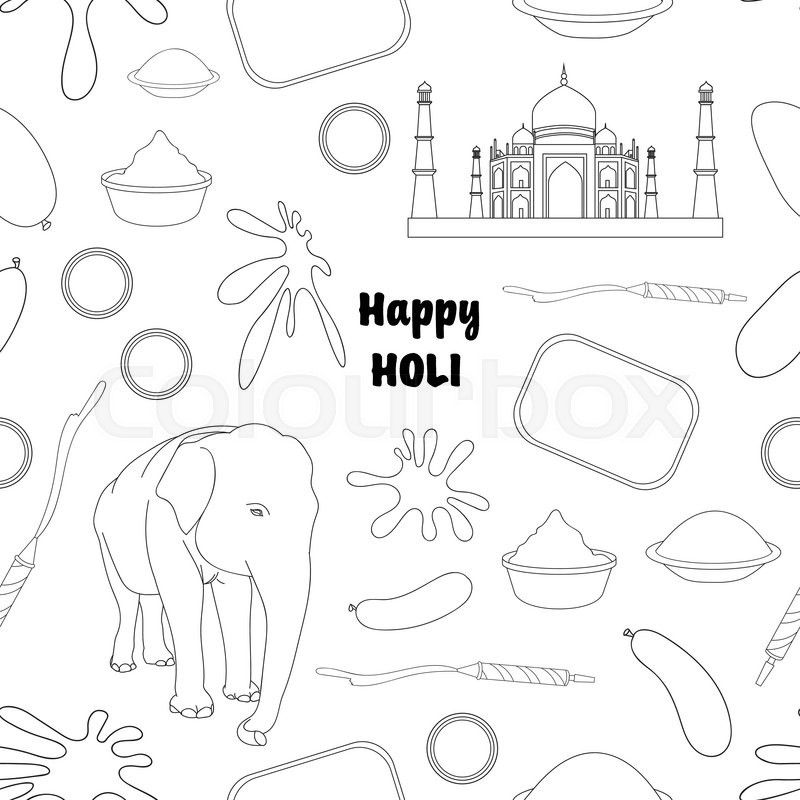 holi drawing for coloring kids -  holi drawing for kids