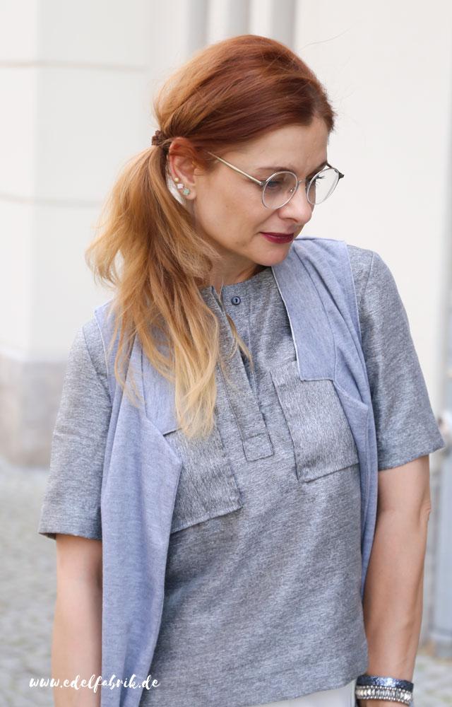 die Edelfabrik, Look, weiße Culottes, silberne Bluse von H&M