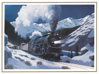 One of Fogg's paintings of a steam locomotive coming through a snowy pass (the image was used on the front of a Christmas card).