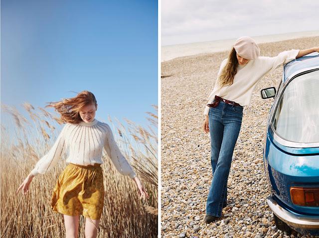 Белый свитер из мохера с желтой юбкой и джинсами