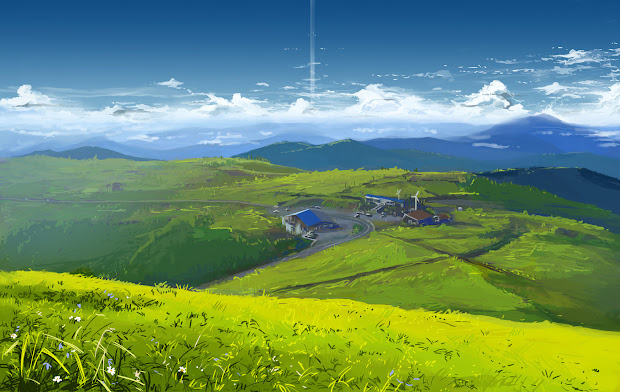 anime landscape mountain