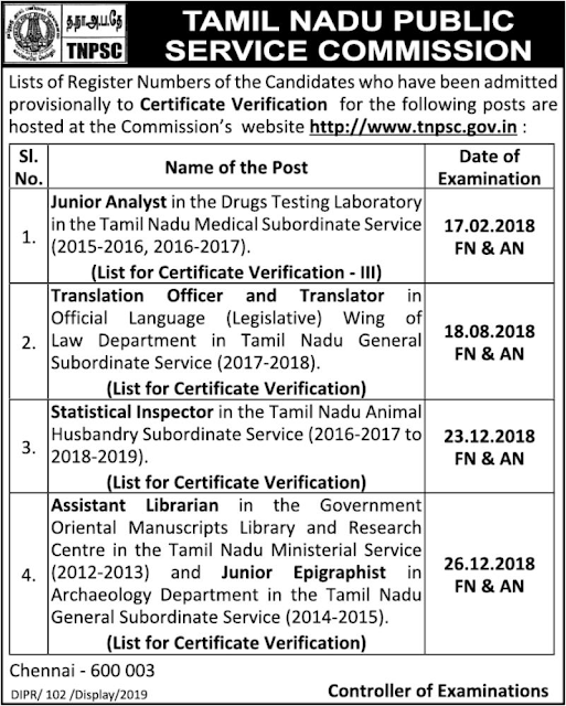 TNPSC Written Exam Results and CV Notification for various Posts 31.1.2019