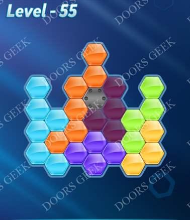 Block! Hexa Puzzle [6 Mania] Level 55 Solution, Cheats, Walkthrough for android, iphone, ipad, ipod