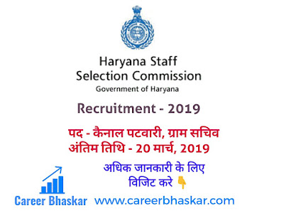 Haryana Staff Selection Commission Recruitment - 2019 (हरियाणा कर्मचारी चयन आयोग में 1327 पदों पर निकली भर्ती।), haryana staff selection commission admit card  hssc recruitment 2018  hssc notice  hssc login  hssc group d  hssc group d result  hssc recruitment 2019  haryana staff selection commission recruitment 2019