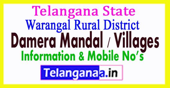Damera Mandal Villages in Warangal Rural District Telangana