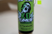 Aufkleber vorne: KO Zombie Columbia Verteidigungssprays Pfeffer KO Jet 50 ml mit Gürtelclip