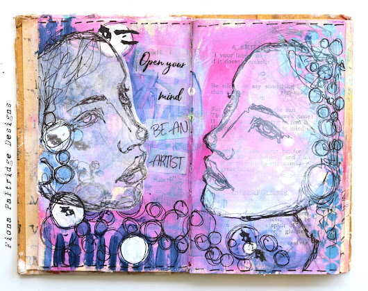 Open Your Mind Be An Artist Art Journal Page for AALL & Create
