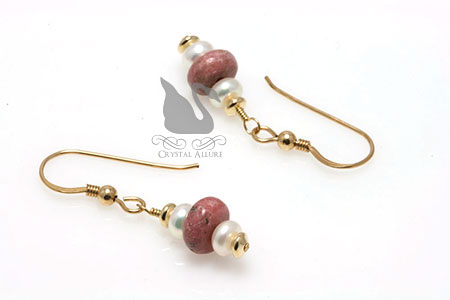Petite Pearl Rhodonite Gemstone Beaded Earrings (E217)