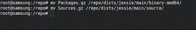 Kemudian pindah kan file Packages.gz dan Sources.gz ke dalam folder binary-amd64 dan source