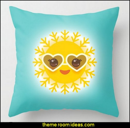 funny sun with sunglasses pink cheeks and eyes. Hot summer day Throw Pillow