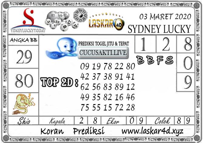 Prediksi Sydney Lucky Today LASKAR4D 03 MARET 2020