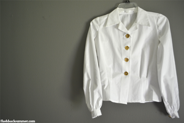 Flashback Summer: 1940s White button down blouses - vintage button up shirt