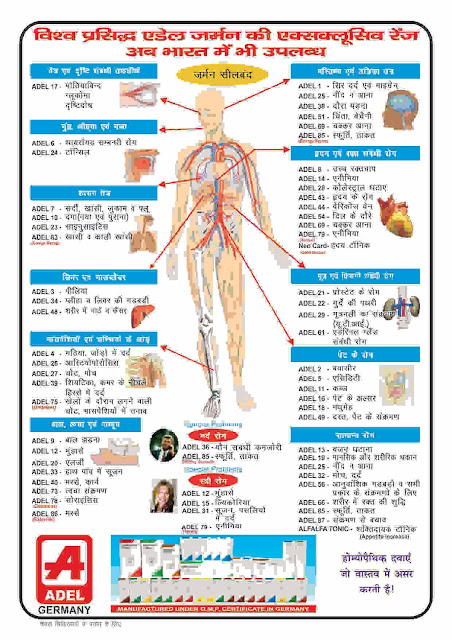 Adel Homeopathy Hindi. ऐडल नं  १ - ८७ का सूची