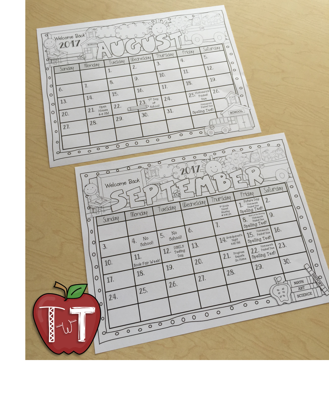 teaching with terhune  editable monthly calendars