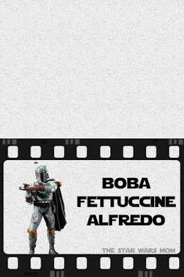 Boba Fettuccine Alfredo Star Wars Party Food Label