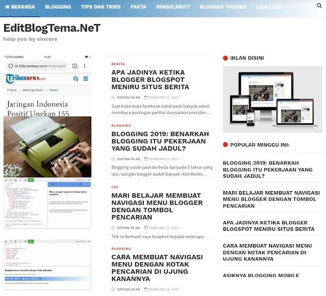 Sidebar ditambah dengan ads dan popular posts