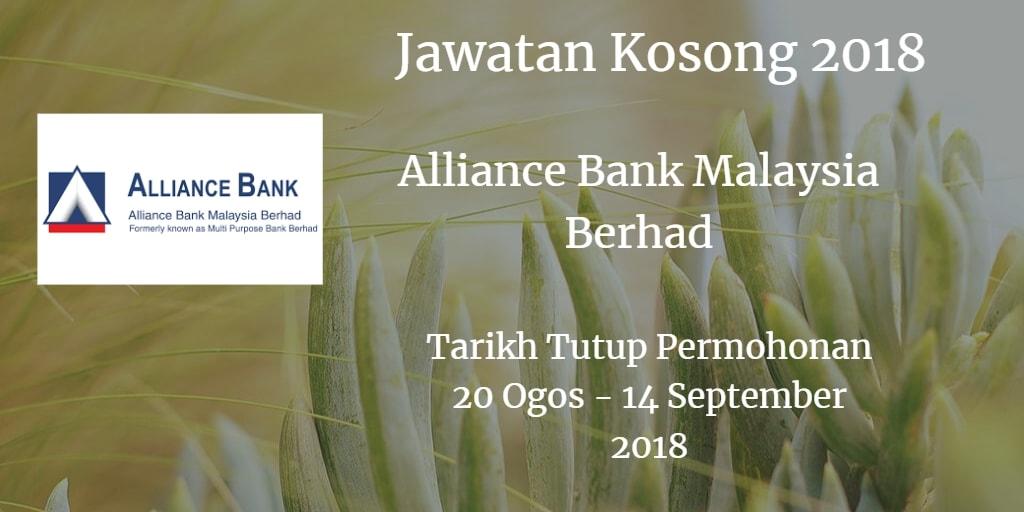 Jawatan Kosong Alliance Bank Malaysia Berhad 20 Ogos - 14 September 2018
