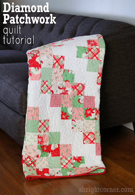 Diamond Patchwork quilt tutorial from Andy of A Bright Corner