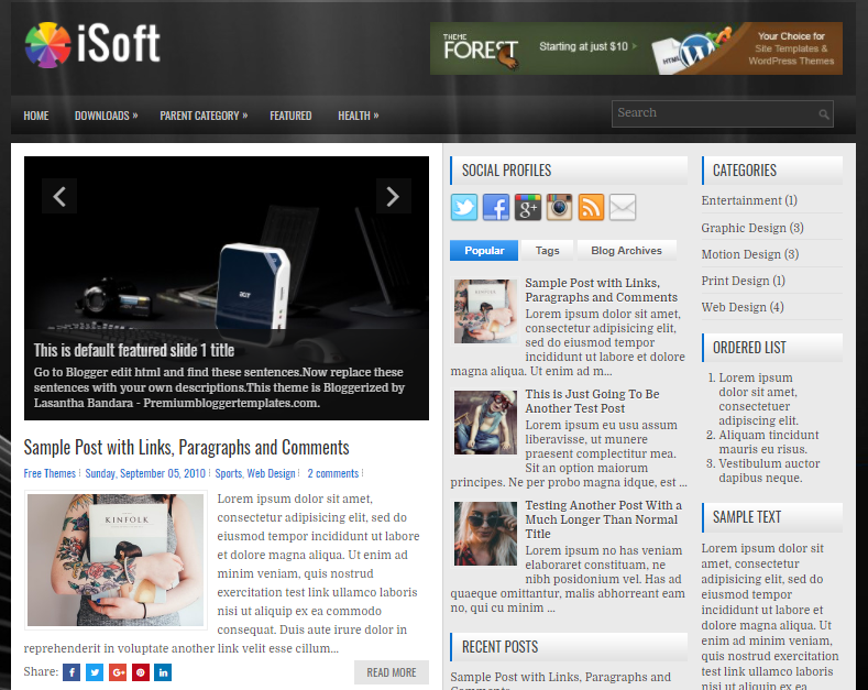 Columns Blogger Template for Tech Blogs Free Download iSoft Blogger Template
