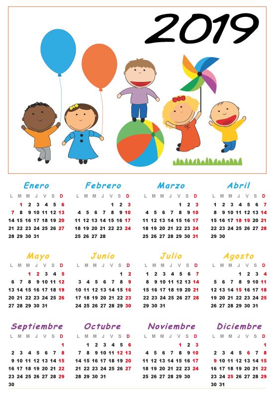 Calendario 2019 para niños español - editable