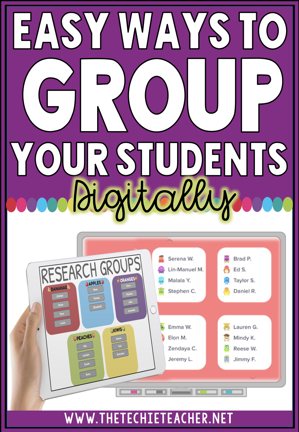 Easy ways to group your students digitally. Many options are offered in this post that can be used on Chromebooks, laptops, computers and iPads. There are also an option for Google Drive!