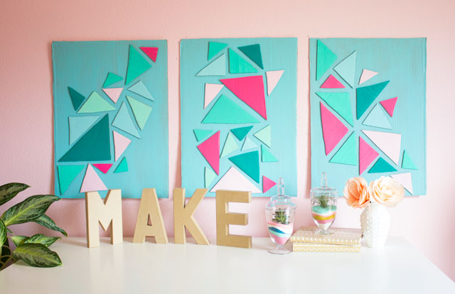 Love this cardboard craft - DIY triangle wall art!