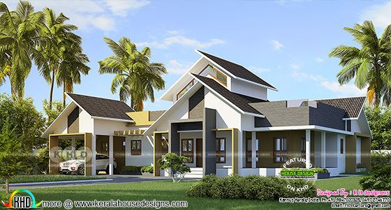 2846 square feet 4 bedroom sloped roof Kerala home