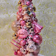 Vintage Inspired Pink Poodle Bottle Brush Tree Pedestal