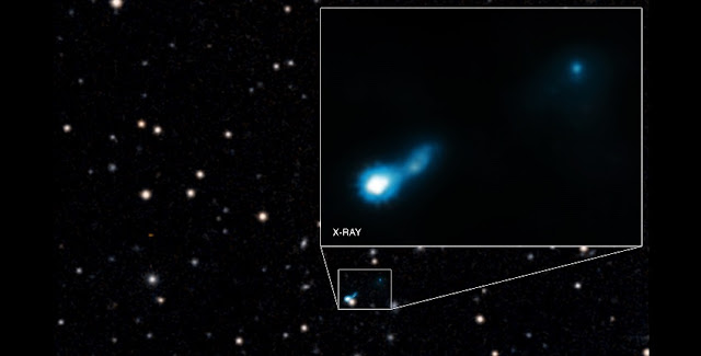 This main panel graphic shows Chandra's X-ray data that have been combined with an optical image from the Digitized Sky Survey. (Note that the two sources near the center of the image do not represent a double source, but rather a coincidental alignment of the distant jet and a foreground galaxy.)  The inset shows more detail of the X-ray emission from the jet detected by Chandra. The length of the jet in 0727+409 is at least 300,000 light years. Many long jets emitted by supermassive black holes have been detected in the nearby Universe, but exactly how these jets give off X-rays has remained a matter of debate. In B3 0727+409, it appears that the CMB is being boosted to X-ray wavelengths. Credit: X-ray: NASA/CXC/ISAS/A.Simionescu et al, Optical: DSS