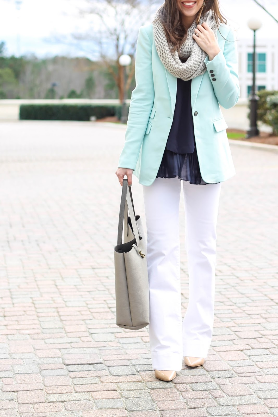 Raven and Riley earrings, Mint Blazer, Banana Republic turquoise blazer, grey knit infinity scarf, white denim wide leg trouser pants, cute winter outfit, winter outfit ideas, work outfit, cute work appropriate outfit, business casual outfit ideas, fashion blogger, north carolina blogger, pretty in the pines blog, LOFT wide leg white pants, 2016 trends, pastel blazer