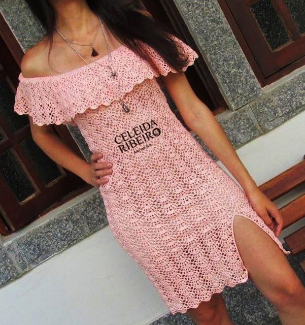 Patron #1800: Vestido Campesino a Crochet