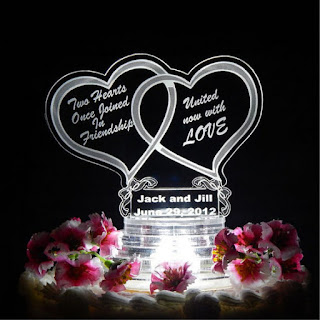 Double Hearts Shaped Light Up Wedding Cake Topper