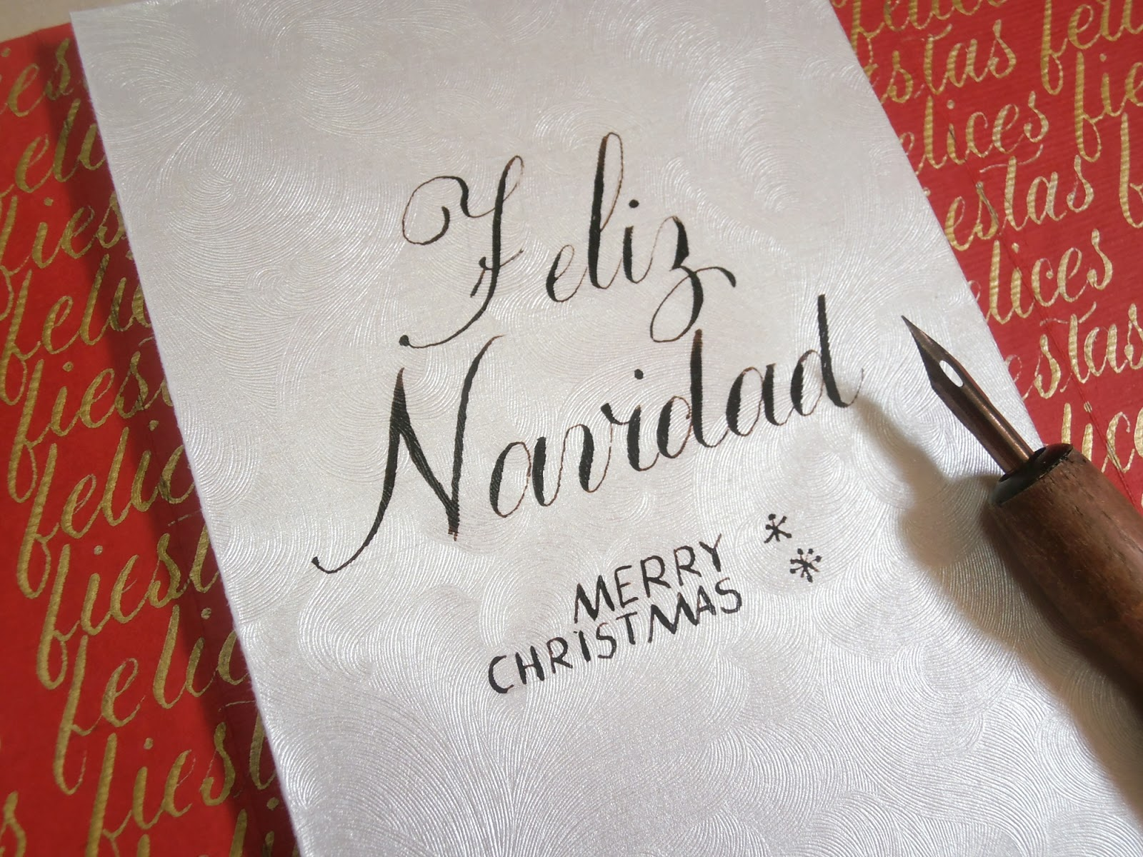 Tarjeta retablo ayacuchano caligrafía copperplate navidad
