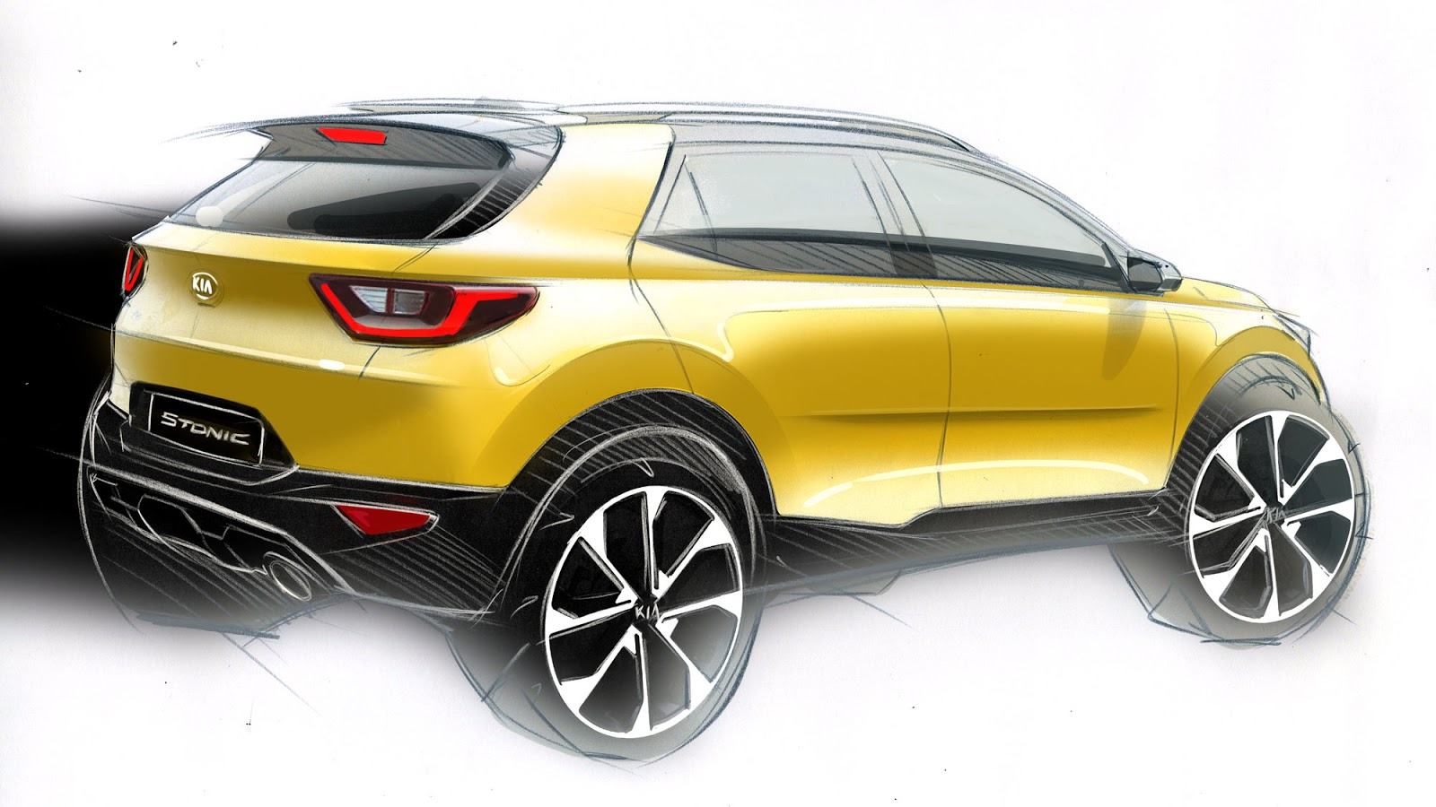 Kia Stonic sketch - of the final design from the rear