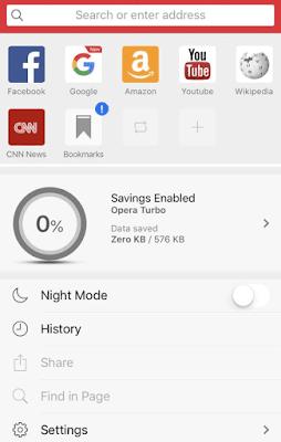 Aplikasi Web Browser Terbaik Untuk iPhone - Opera mini