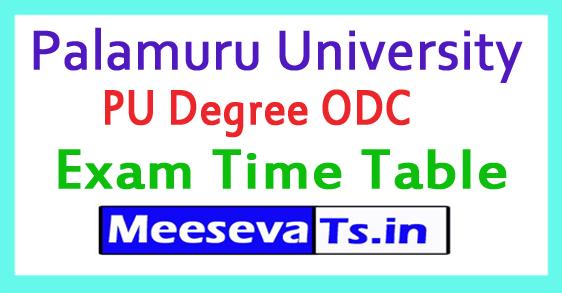 Palamuru University PU Degree ODC  Exam Time Table