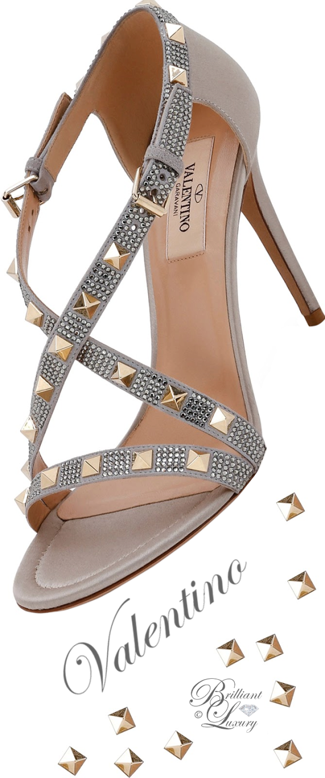 Brilliant Luxury ♦ Valentino Rockstud Strass Crisscross Sandal