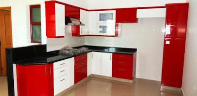 ทาสีห้องครัวสีแดงสลับขาว