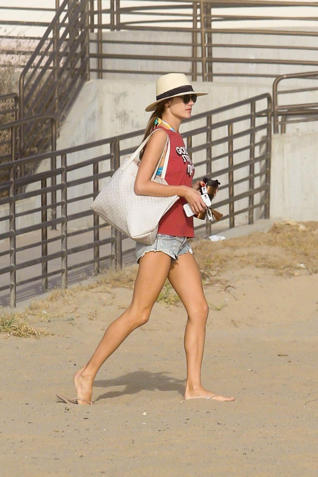 Victoria's Secret model Alessandra Ambrosio Playing Volleyball on the Beach in Santa Monica