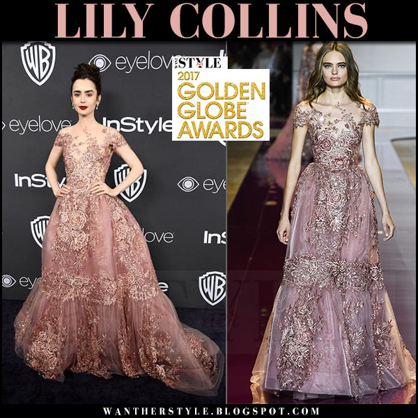 Lily Collins in pink lace gown zuhair murad golden globes 2017 what she wore