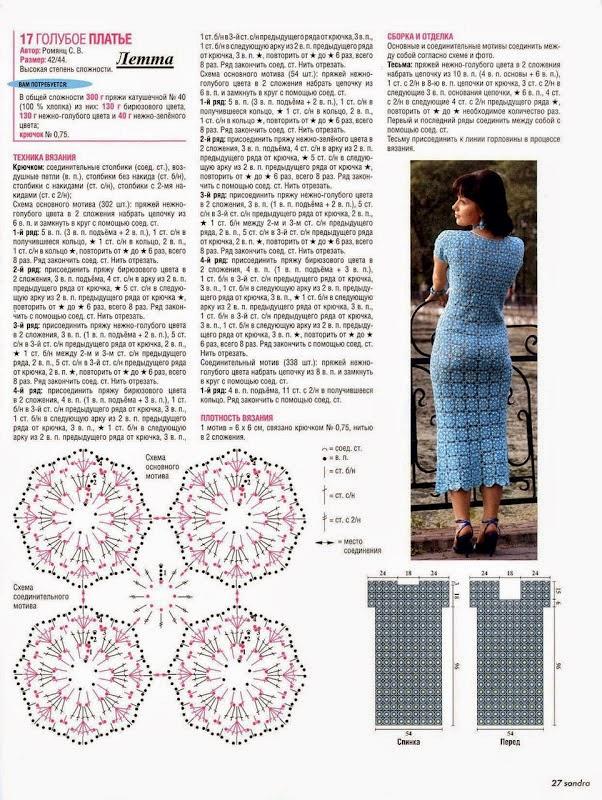Patrones de vestido azul al crochet moldes