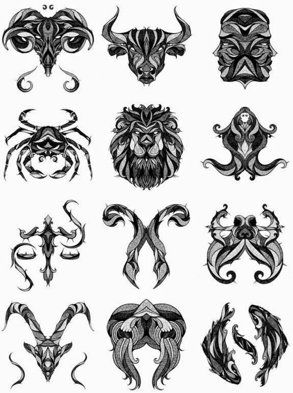 Diseño Tatuaje Tribal Signos Zodiacales Set 02 Imágenes Del